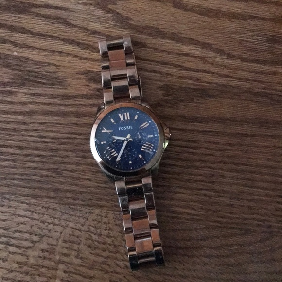 Fossil Accessories - Men's rose gold and navy Fossil Watch